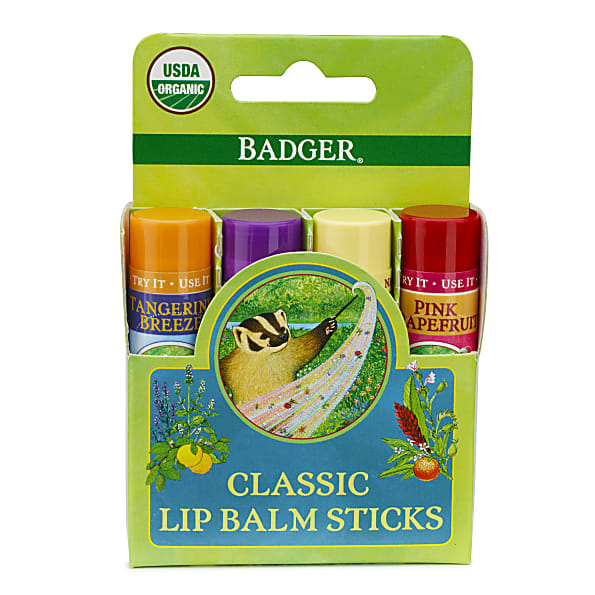 Badger Balm Classic Lipcare Kit Green x 4 lip balms