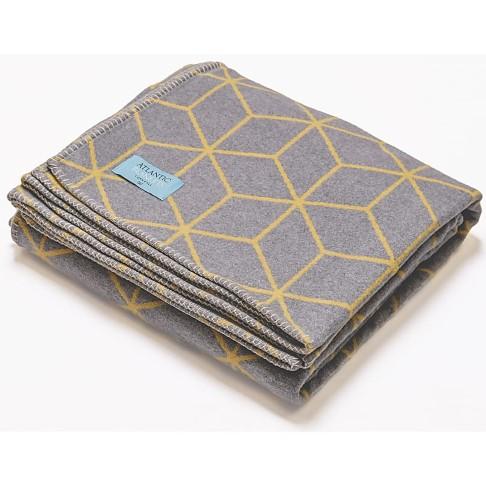 Atlantic Blankets Grijs & Geel Gerecycleerd Katoenen Deken