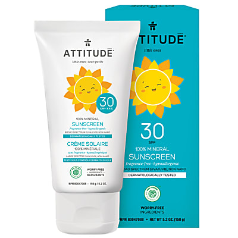 Attitude Baby & Kids Zonnebrandcrème SPF 30 - Parfumvrij (150g)