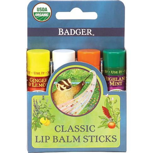 Badger Balm Classic Lipcare Kit Blue (x 4 lip balms)