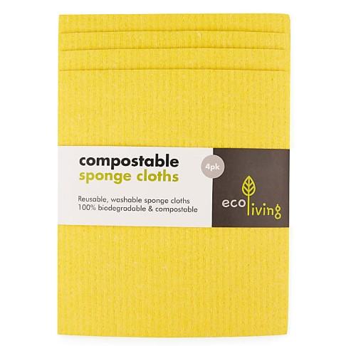 Eco Living Composteerbare Schoonmaakdoeken (x4) - Geel