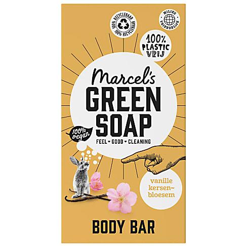 Marcel's Green Soap Body Bar Vanilla & Cherry Blossom